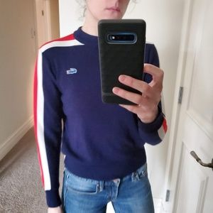 Vintage Lacoste Racing Stripe Sweater!!